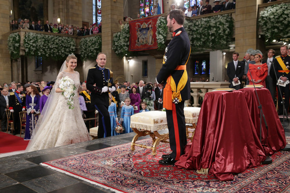 The Wedding Of Prince Guillaume Of Luxembourg & Stephanie de Lannoy - Official Ceremony [photograph,gown,dress,ceremony,event,tradition,marriage,bride,wedding,wedding dress,guillaume of luxembourg stephanie de lannoy - official ceremony,stephanie,jehan de lannoy,prince,belgian countess,sales,handout image,archive,luxembourg,wedding]