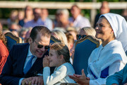Prince Daniel and his daughter, Princess Estelle have a good time at The Crown Princess Victoria of Sweden's 42nd birthday celebrations on July 14, 2019 at Borgholm's Idrottsplatsen in Borgholm, Oland, Sweden.