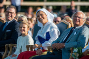 Crown Princess Victoria and her family enjoy The Crown Princess Victoria of Sweden's 42nd birthday celebrations on July 14, 2019 at Borgholm's Idrottsplatsen in Borgholm, Oland, Sweden.