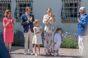 The Swedish Royal Family applauds Crown Princess Victoria during The Crown Princess Victoria of Sweden's 42nd birthday celebrations on July 14, 2019 at Solliden Palace in Borgholm, Oland, Sweden.