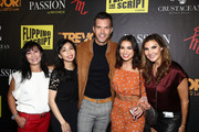 "(L-R) Elizabeth An, AJ Gibson, Ashley Iaconetti and Heather McDonald attend the Crustacean Beverly Hills Hosts AJ Gibson's ""Flipping The Script"" Book Launch And Fundraiser For The Trevor Project at Crustacean on October 1, 2018 in Beverly Hills, California."