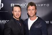 """Joseph Siprut and Luke Hemsworth attend the """"Crypto"""" New York Screening at AMC Empire 25 on April 12, 2019 in New York City."""