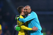 Almen Abdi (L) and Heurelho Gomes (R) of Watford celebrate their 2-1 win in the Barclays Premier League match between Crystal Palace and Watford at Selhurst Park on February 13, 2016 in London, England.