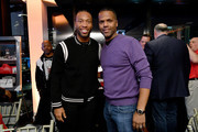"""Football player Larry Fitzgerald and A.J. Calloway attend """"Culinary Kickoff"""" at Ventanas on January 31, 2019 in Atlanta, Georgia."""