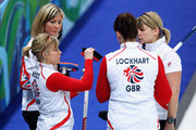 (L-R) Eve Muirhead, Kelly Wood, Jackie Lockhart and Lorna Vevers of Great Britain and Northern Ireland talk between ends during the Women's Curling Round Robin match between Great Britain and China on day 6 of the Vancouver 2010 Winter Olympics at the Vancouver Olympic Centre on February 17, 2010 in Vancouver, Canada.