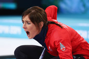 Eve Muirhead of Great Britain shouts instructions during the Bronze medal match between Switzerland and Great Britain on day 13 of the Sochi 2014 Winter Olympics at Ice Cube Curling Center on February 20, 2014 in Sochi, Russia.