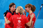 (L-R) Eve Muirhead, Anna Sloan and Claire Hamilton of Great Britain celebrate as they win the bronze medal during the Bronze medal match between Switzerland and Great Britain on day 13 of the Sochi 2014 Winter Olympics at Ice Cube Curling Center on February 20, 2014 in Sochi, Russia.