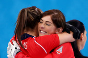 (L-R) Eve Muirhead and Vicki Adams of Great Britain celebrate as they win the bronze medal during the Bronze medal match between Switzerland and Great Britain on day 13 of the Sochi 2014 Winter Olympics at Ice Cube Curling Center on February 20, 2014 in Sochi, Russia.