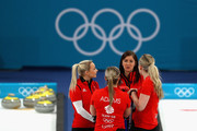 Eve Muirhead, Anna Sloan, Vicki Adams and Lauren Gray of Great Britain during the Curling Womens' bronze Medal match between Great Britain and Japan on day fifteen of the PyeongChang 2018 Winter Olympic Games at Gangneung Curling Centre on February 24, 2018 in Gangneung, South Korea.