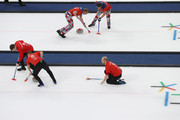 Cameron Smith, Kyle Waddell and Thomas Muirhead of Great Britain compete during the Curling Men's Round Robin Session 3 held at Gangneung Curling Centre on February 15, 2018 in Gangneung, South Korea.