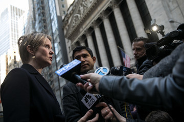 Cynthia Nixon May Day Activists March On Wall Street