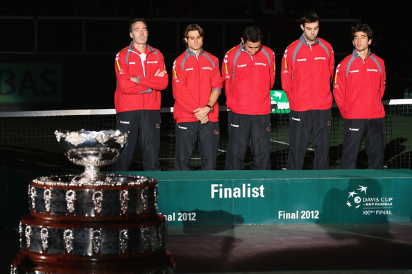 L-R Team Captain Alex Corretja,David Ferrer,Nicolas Almagro,Marcel Granollers and Marc Lopez show their dejection before they receive their runners up medals after a 3-2 defeat against Czech Republic during day three of the final Davis Cup match between Czech Republic and Spain at the 02 Arena on November 18, 2012 in Prague, Czech Republic.