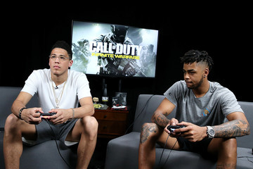 D'Angelo Russell Pro Basketball Players D'Angelo Russell and Devin Booker Play Call of Duty: Infinite Warfare Continuum DLC at Infinity Ward