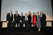 """(L-R) Dr. George Rupp, Jeff Bewkes, Barry Meyer, Jeff Robinov, Diane Nelson, Dr. Maura O'Neill, Cokie Roberts and Neal Keny-Guyer attend DC Entertainment Launch of """"We Can Be Heroes"""" at Time Warner Center on January 23, 2012 in New York City."""
