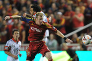 Nat Borchers #6 of Real Salt Lake deflects the ball away from Chris Pontius of D.C. United at Rio Tinto Stadium October 1, 2013 in Sandy, Utah.