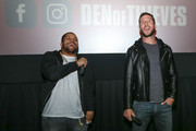 (L-R)  OShea Jackson Jr and Pablo Schreiber at The Den of Thieves special screening at Regal South Beach on January 10, 2018 in Miami, Florida.