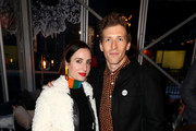 "Zoe Lister-Jones (L) and Daryl Wein attend the ""White Rabbit"" cocktail at DIRECTV Lodge presented by AT&T during Sundance Film Festival 2018 on January 19, 2018 in Park City, Utah."