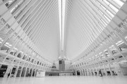 (Editors Note: This image has been converted to Black & White) The World Trade Center is seen empty during a normally busy time of the day on April 24, 2020 in New York City. As people continue to stay home, New York's landmarks continue to remain empty.