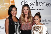 (L-R) Julissa Bermudez, Daisy Fuentes and Adrienne Bailon pose backstage at the Daisy Fuentes spring 2013 fashion show during Style360 at the Metropolitan Pavillion on September 12, 2012 in New York City.
