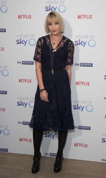 'House Of Sky Q' Launch - Photocall [house of sky q,clothing,dress,little black dress,fashion,cocktail dress,footwear,fashion design,carpet,event,tights,daisy lowe,photocall,england,london,the vinyl factory,house of sky q launch]