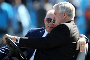 (L-R) Owner of the Dallas Cowboys, Jerry Jones and owner of the Carolina Panthers, Jerry Richardson talk to eachother before their teams game at Bank of America Stadium on October 21, 2012 in Charlotte, North Carolina.