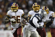 Running back Adrian Peterson #26 of the Washington Redskins carries the ball in the fourth quarter against the Dallas Cowboys at FedExField on October 21, 2018 in Landover, Maryland.