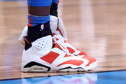 the sneakers worn by Raymond Felton #2 of the Oklahoma City Thunder are seen during the game against the Dallas Mavericks on December 31, 2017 at Chesapeake Energy Arena in Oklahoma City, Oklahoma. NOTE TO USER: User expressly acknowledges and agrees that, by downloading and or using this photograph, User is consenting to the terms and conditions of the Getty Images License Agreement. Mandatory Copyright Notice: Copyright 2017 NBAE