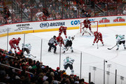 General view of action as the Dallas Stars face off against the Arizona Coyotes during the NHL game at Gila River Arena on November 11, 2014 in Glendale, Arizona. The Stars defeated the Coyotes 4-3.