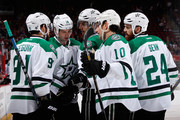 (L-R) Tyler Seguin #91, Jamie Benn #14, Patrik Nemeth #15, Patrick Sharp #10 and Jordie Benn #24 of the Dallas Stars celebrate after Seguin scored a first period goal against the Arizona Coyotes during the NHL game at Gila River Arena on February 18, 2016 in Glendale, Arizona.