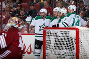 Patrick Eaves #18, Tyler Seguin #91, Trevor Daley #6 and Jamie Benn #14 of the Dallas Stars celebrate after Seguin scored a second period power play goal past goaltender Mike Smith #41 of the Arizona Coyotes during the NHL game at Gila River Arena on November 11, 2014 in Glendale, Arizona.