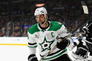 Jamie Benn #14 of the Dallas Stars looks on after scoring a goal during the first period of a game against the Los Angeles Kings  at Staples Center on April 7, 2018 in Los Angeles, California.