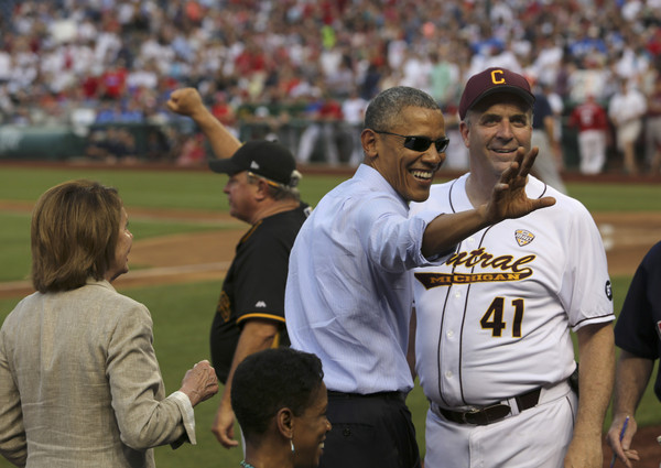 President Obama Watches The Congressional Baseball Game
