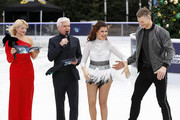 Holly Willoughby, Phillip Schofield, Saara Aalto and Hamish Gaman during a photocall for the new series of Dancing On Ice at the Natural History Museum Ice Rink on December 18, 2018 in London, England.