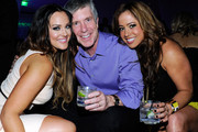 """(L-R) Dancer Lacey Schwimmer, television personality and """"Dancing with the Stars"""" host Tom Bergeron and singer/actress Sabrina Bryan attend the after party for the grand opening of """"Dancing With the Stars: Live in Las Vegas"""" at the New Tropicana Las Vegas April 13, 2012 in Las Vegas, Nevada."""