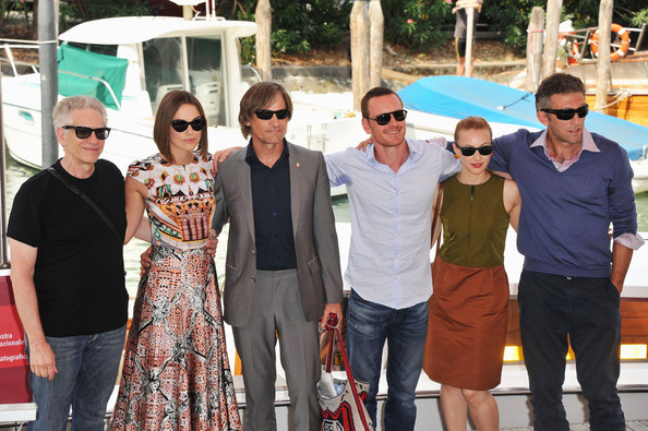 "(L-R) Director David Cronenberg with actors Keira Knightley, Viggo Mortensen, Michael Fassbender, Sarah Gadon and Vincent Cassel as they arrive at the ""A Dangerous Method"" photocall at the Palazzo del Cinema during the 68th Venice Film Festival on September 2, 2011 in Venice, Italy."