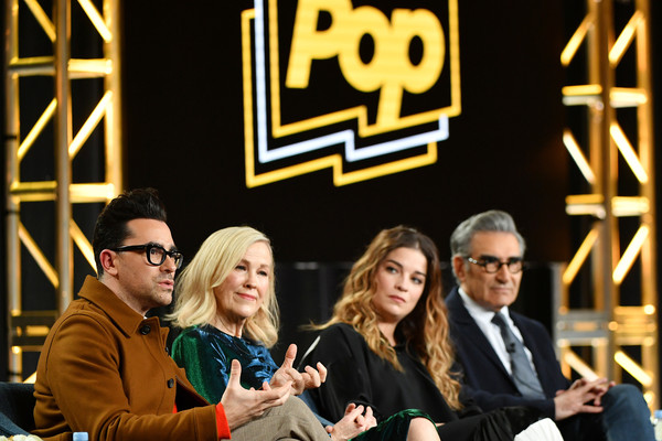 2020 Winter TCA Tour - Day 7 [event,yellow,interaction,conversation,fun,collaboration,team,management,crowd,daniel levy,catherine ohara,eugene levy,annie murphy,l-r,pasadena,schitts creek,winter tca,pop tv,segment,daniel levy,eugene levy,annie murphy,catherine ohara,schitts creek,television,photograph,photography,comedy]