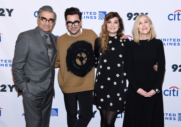 """Schitt's Creek"" Screening & Conversation [premiere,event,eyewear,smile,carpet,glasses,eugene levy,daniel levy,catherine ohara,annie murphy,new york city,92nd street y,schitts creek screening conversation,daniel levy,eugene levy,catherine ohara,annie murphy,schitts creek,celebrity,comedy,actor,stock photography]"