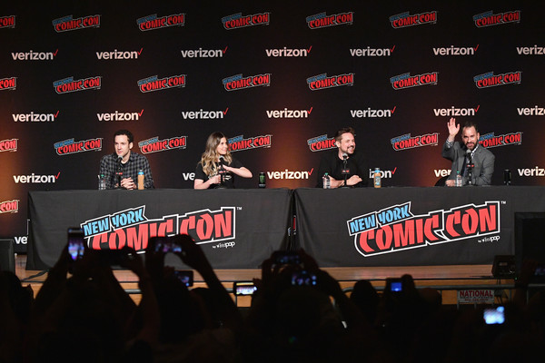 New York Comic Con 2018 -  Day 2 [red,font,event,performance,crowd,technology,display device,stage equipment,stage,fan,ben savage,aaron sagers,danielle fishel,will friedle,panel,l-r,jacob k. javits convention center,new york city,new york comic con,boy meets world 25th anniversary reunion]