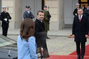 Crown Prince Frederik of Denmark and Crown Princess Mary of Denmark during the official welcome ceremony at the Presidential Palace on November 25, 2019 in Warsaw, Poland. The Danish Crown Prince and his wife are on an official visit to Poland on the occasion of the centenary of the resumption of diplomatic relations between Denmark and Poland.