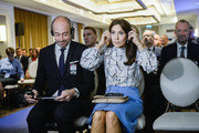 The Crown Princess Mary of Denmark attends a panel discussion on the programme of the fight with diabetes at Bristol Hotel November 25, 2019 in Warsaw, Poland. The Danish Crown Prince and his wife are on an official visit to Poland on the occasion of the centenary of the resumption of diplomatic relations between Denmark and Poland.