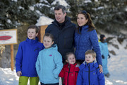 Prince Christian of Denmark, Princess Isabella of Denmark, Crown Prince Frederik of Denmark, Princess Josephine of Denmark, Princess Mary of Denmark and Prince Vincent of Denmark, pose as the Danish Royal family hold their annual skiing photocall whilst on holiday on February 8, 2015 in Verbier, Switzerland.