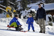 Prince Christian of Denmark, Prince Vincent of Denmark and Prince Frederik of Denmark attend the Danish Royal family annual skiing photocall whilst on holiday on February 8, 2015 in Verbier, Switzerland.