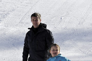 Prince Frederik of Denmark, Princess Isabella of Denmark, Prince Vincent of Denmark attend the Danish Royal family annual skiing photocall whilst on holiday on February 8, 2015 in Verbier, Switzerland.