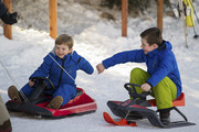 Prince Vincent of Denmark and Prince Christian of Denmark attend the Danish Royal family annual skiing photocall whilst on holiday on February 8, 2015 in Verbier, Switzerland.