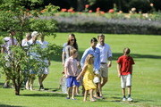 (L-R) Crown Princess Mary, Prince Christian, Princess Isabella, Prince Nikolai, Crown prince Frederik and Prince Felix of Denmark attend the annual summer photo call for the Royal Danish family at Grasten Castle on July 24, 2014 in Grasten, Denmark.