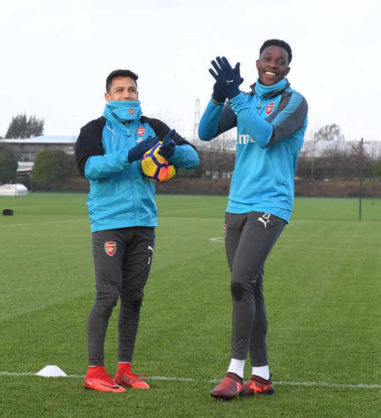 Arsenal Training Session [player,team sport,sports training,sports,sports equipment,team,training,ball game,recreation,soccer,alexis sanchez,danny welbeck,l-r,london colney,st albans,england,arsenal,arsenal training session,training session]
