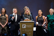 (L-R) Laura Wright, Aled Jones, Darcey Bussell, Myleene Klass and Alison Balsom at the switch on of the Regent's Street Christmas Lights at Regent Street on November 15, 2015 in London, England.