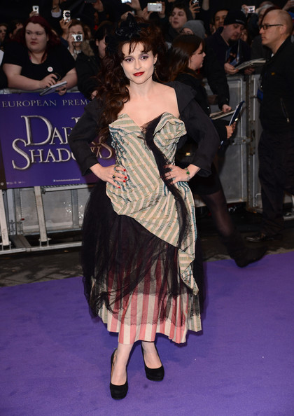 """Actress Helena Bonham Carter  attends the European premiere of """"Dark Shadows"""" at Empire Leicester Square on May 9, 2012 in London, England."""
