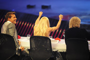Jury members (L-R) Dieter Bohlen, Michelle Hunziker, and Thomas Gottschalk at the 'Das Supertalent' Finals on December 15, 2012 in Cologne, Germany.