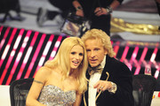 (L-R) Jury members Michelle Hunziker and Thomas Gottschalk at the 'Das Supertalent' Finals on December 15, 2012 in Cologne, Germany.